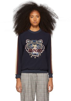 Kenzo Blue Tiger Embroidery Blouse