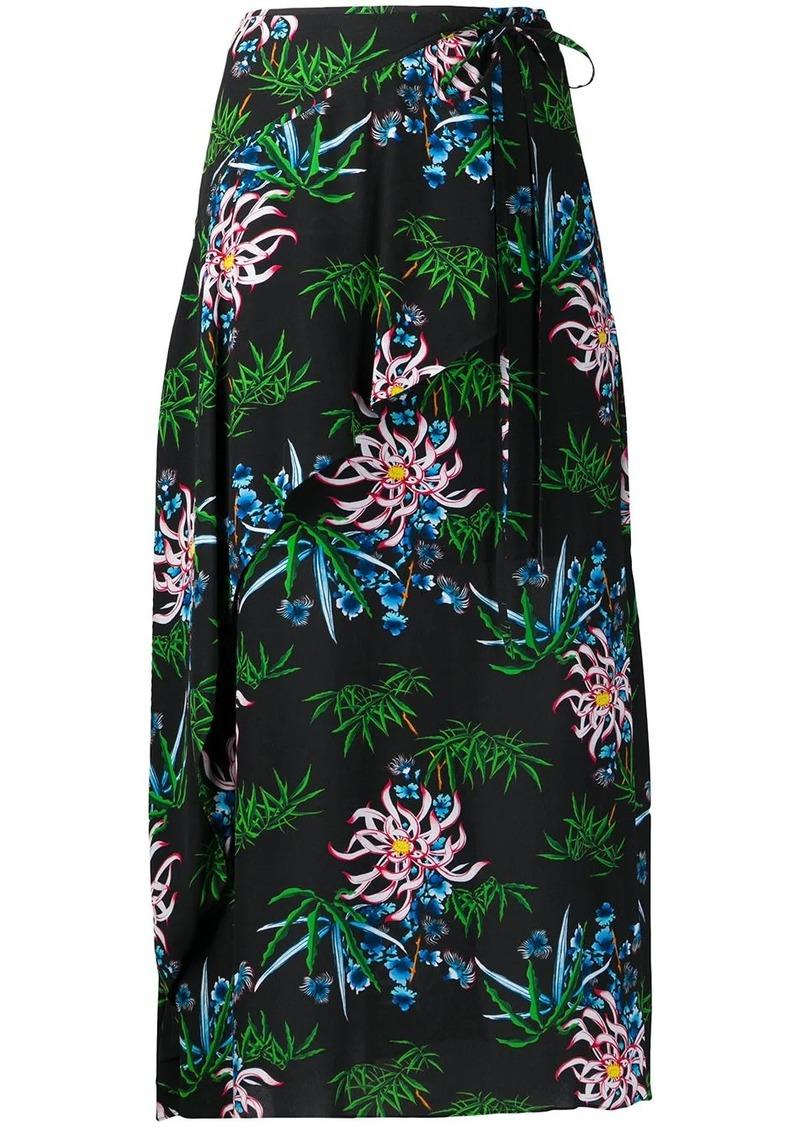 Kenzo botanical-print wrap skirt