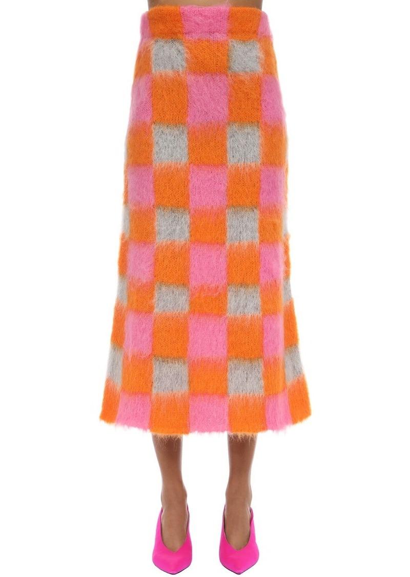 Kenzo Check Mohair Blend Intarsia Skirt