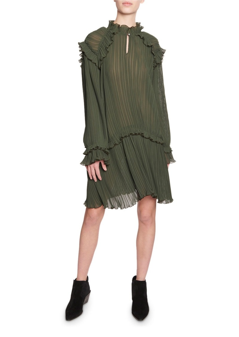 Kenzo Crinkle Drop-Waist Long-Sleeve Ruffle Dress