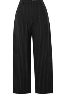 Kenzo Cropped Metallic Pinstriped Wool-blend Straight-leg Pants