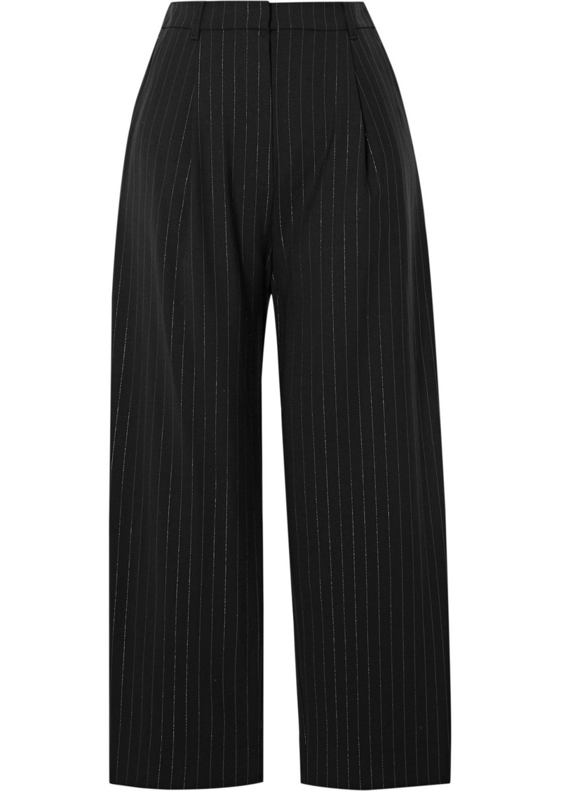 Kenzo Cropped Metallic Pinstriped Wool-blend Straight-leg Pants