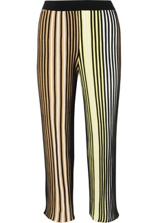 Kenzo Cropped Striped Ribbed-knit Flared Pants