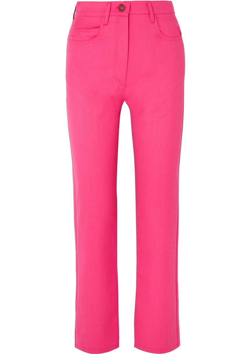 Kenzo Cropped Wool-blend Gabardine Straight-leg Pants