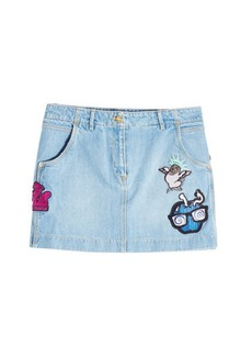 Kenzo Denim Mini Skirt with Patches