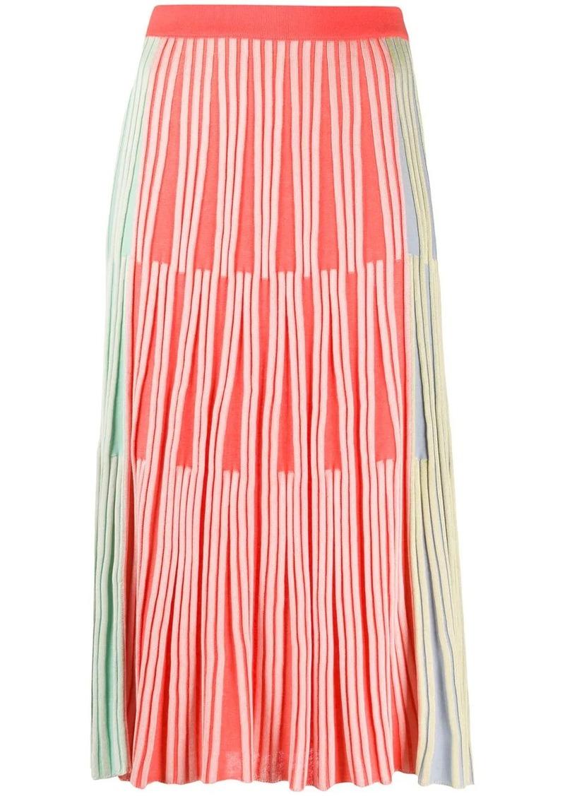 Kenzo disjointed lines knitted skirt