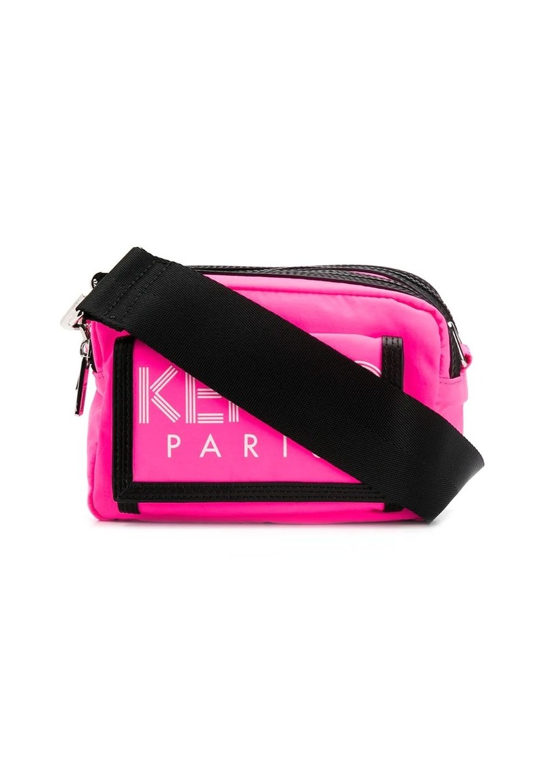 Kenzo double compartment logo print messenger bag