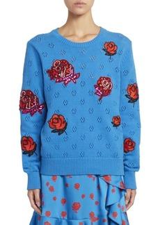 Kenzo Embellished Rose Crewneck Sweater