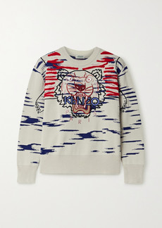 Kenzo Embroidered Appliquéd Cotton-blend Sweater
