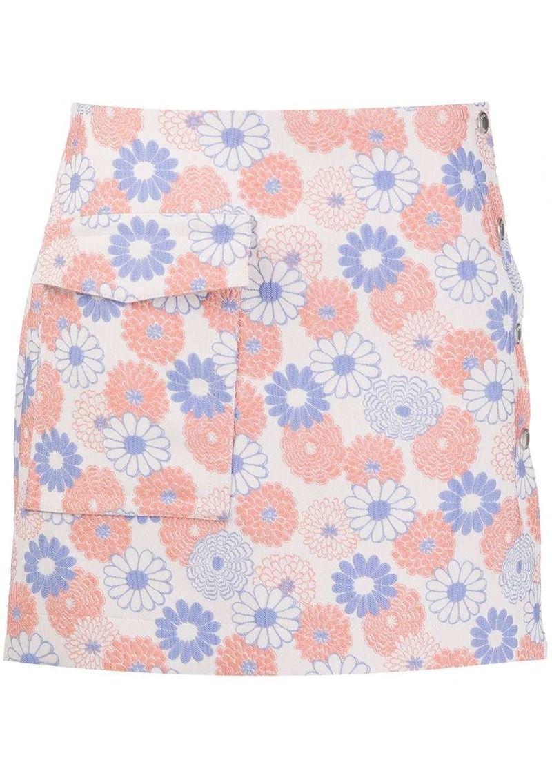Kenzo embroidered flowers flap pocket skirt
