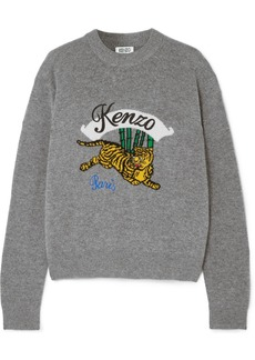 Kenzo Embroidered Intarsia Wool Sweater