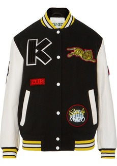 Kenzo Embroidered Wool-blend And Leather Bomber Jacket