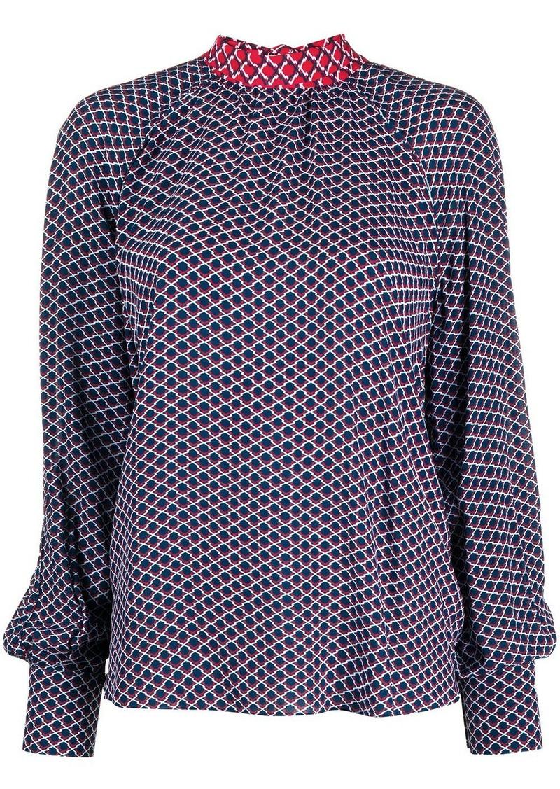Kenzo Fishnet-print pussy-bow blouse