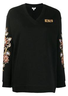 Kenzo floral embroidered V-neck jumper