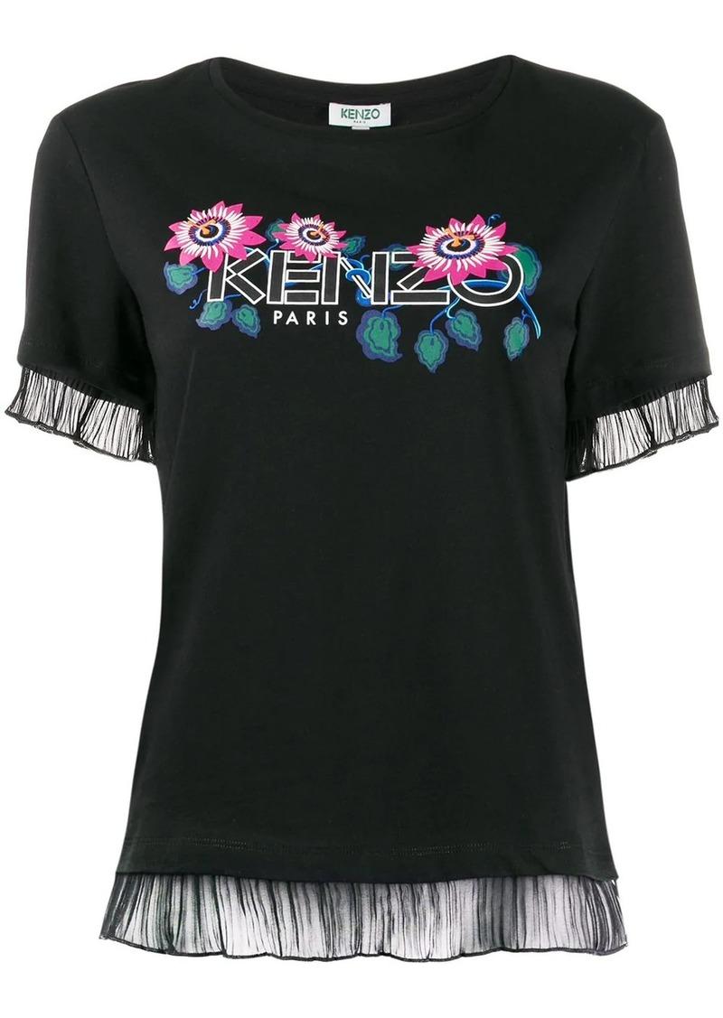 Kenzo floral logo sheer trim T-shirt