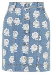 Kenzo Floral-print Denim Mini Skirt