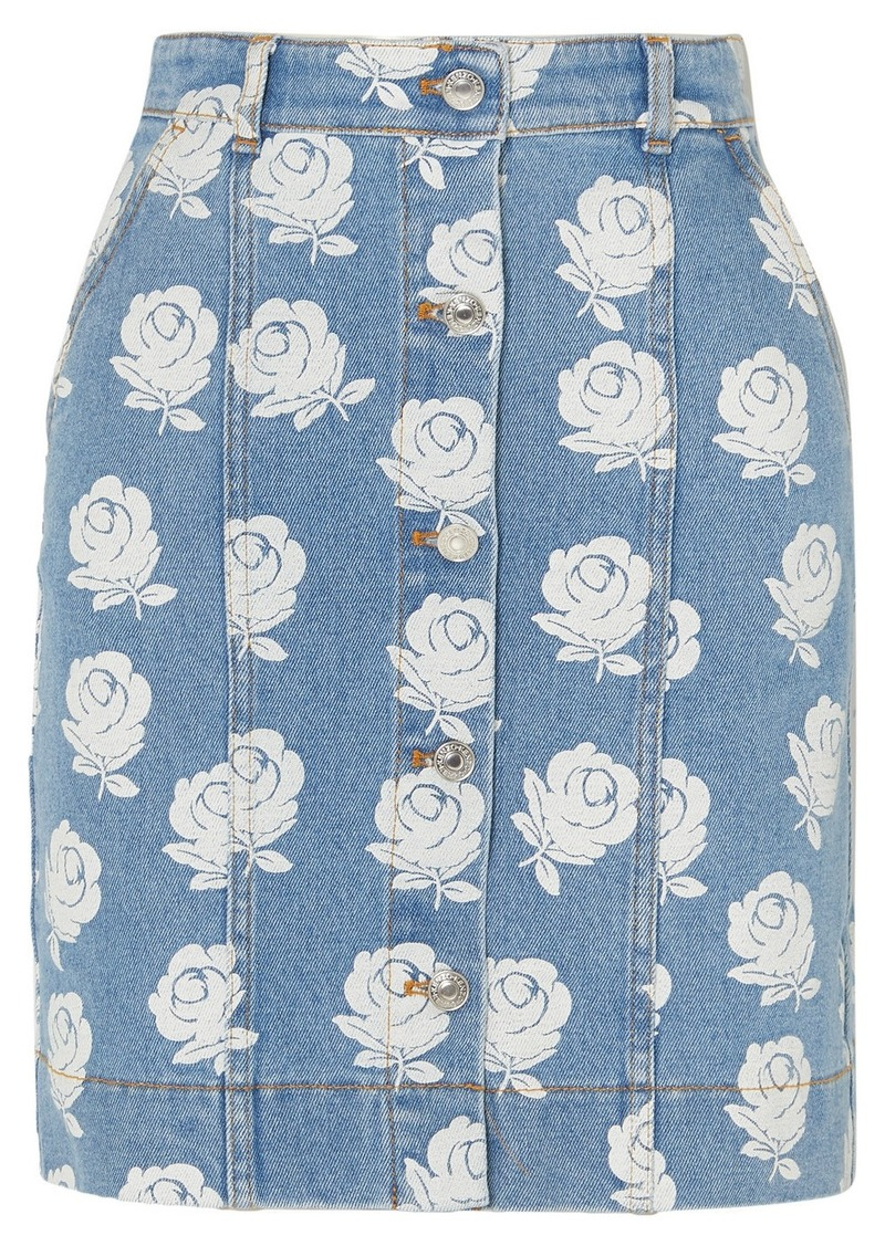 Kenzo Floral-print Denim Mini Skirt