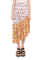 Kenzo floral print pleated midi skirt with asymmetric hem abva6987f2 a