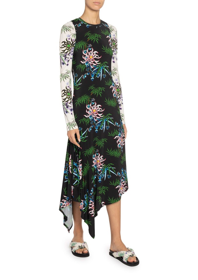 Kenzo Fluid Asymmetrical Printed Dress