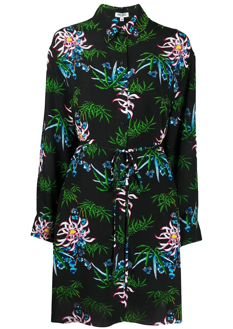 Kenzo foliage print shirt dress