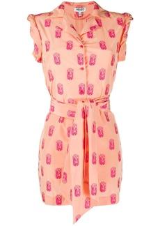Kenzo geometric embroidered shirt dress