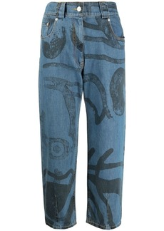 Kenzo graphic-print cropped jeans