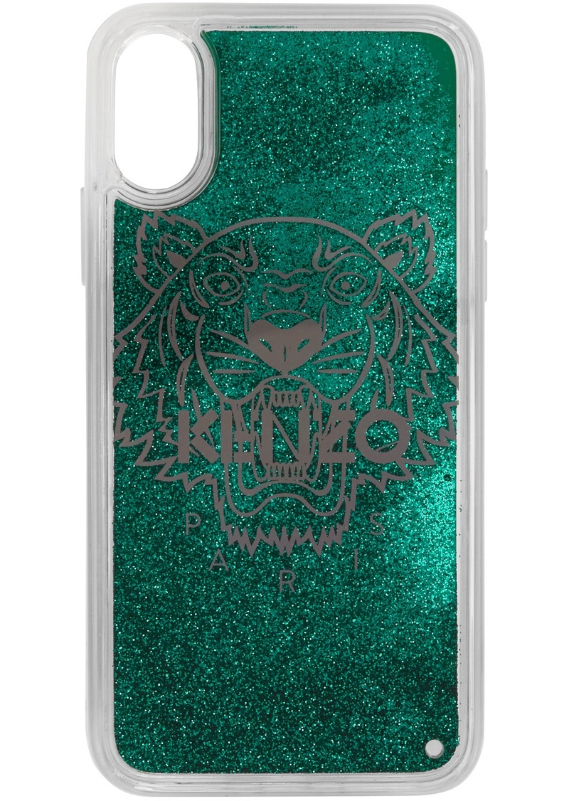 Kenzo Green Glitter Tiger Head iPhone X/XS Case