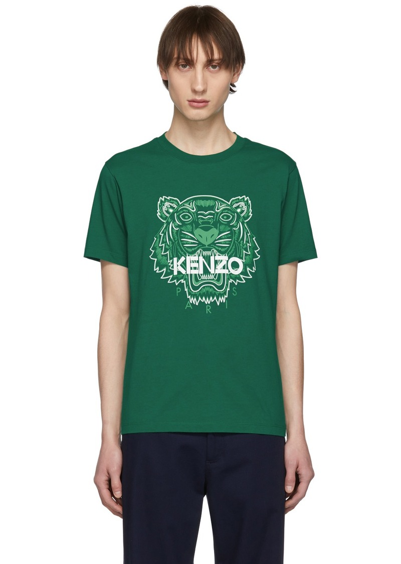 Kenzo Green Two-Tone Tiger T-Shirt