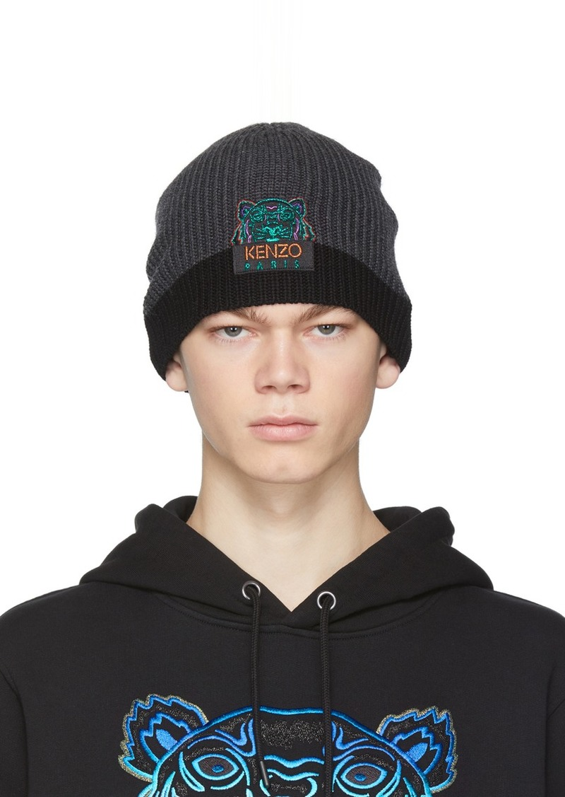 Kenzo Grey & Black Limited Edition Holiday Wool Two-Tone Tiger Beanie