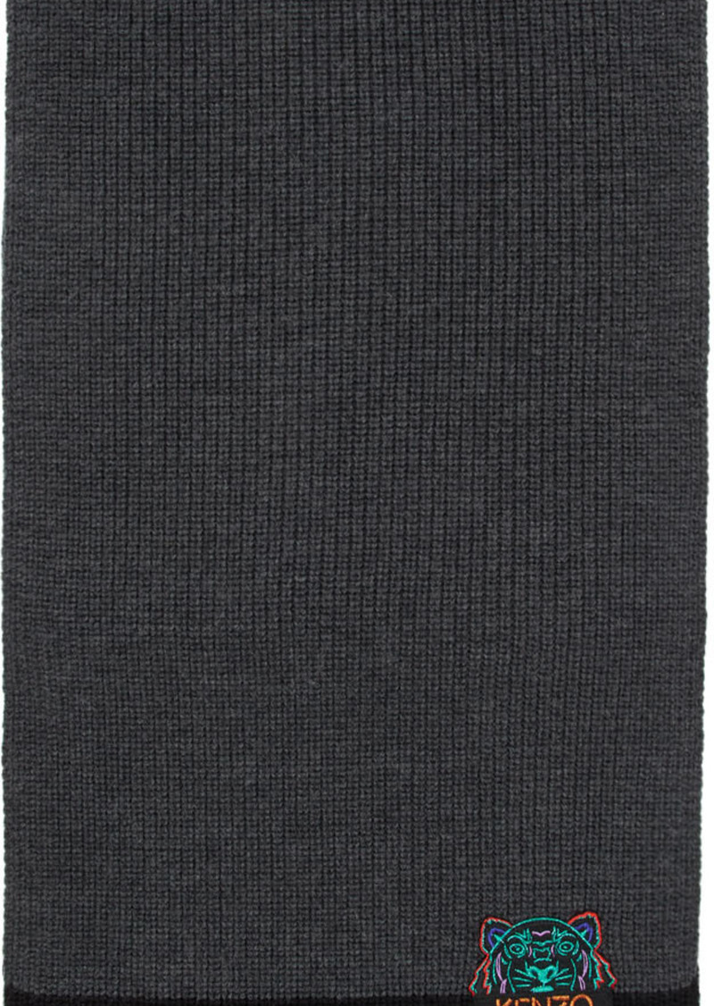 Kenzo Grey & Black Limited Edition Holiday Wool Two-Tone Tiger Scarf