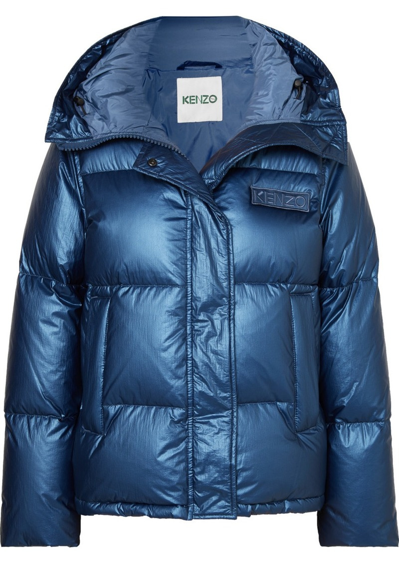 Kenzo Hooded Metallic Quilted Shell Down Jacket