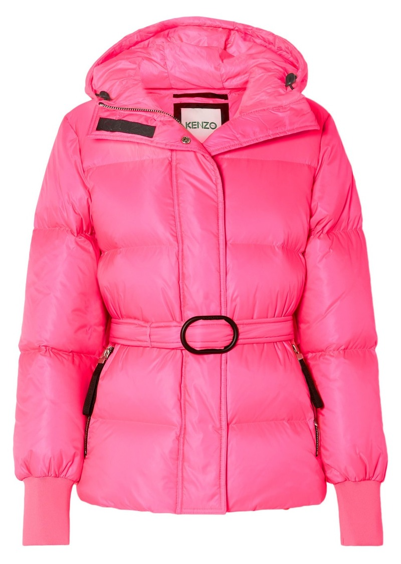 Kenzo Hooded Quilted Neon Shell Down Jacket