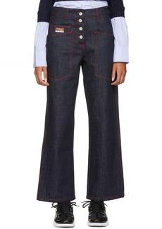 Kenzo Indigo & Red Workwear Jeans