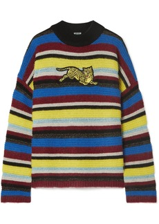 Kenzo Jumping Tiger Appliquéd Striped Wool-blend Sweater