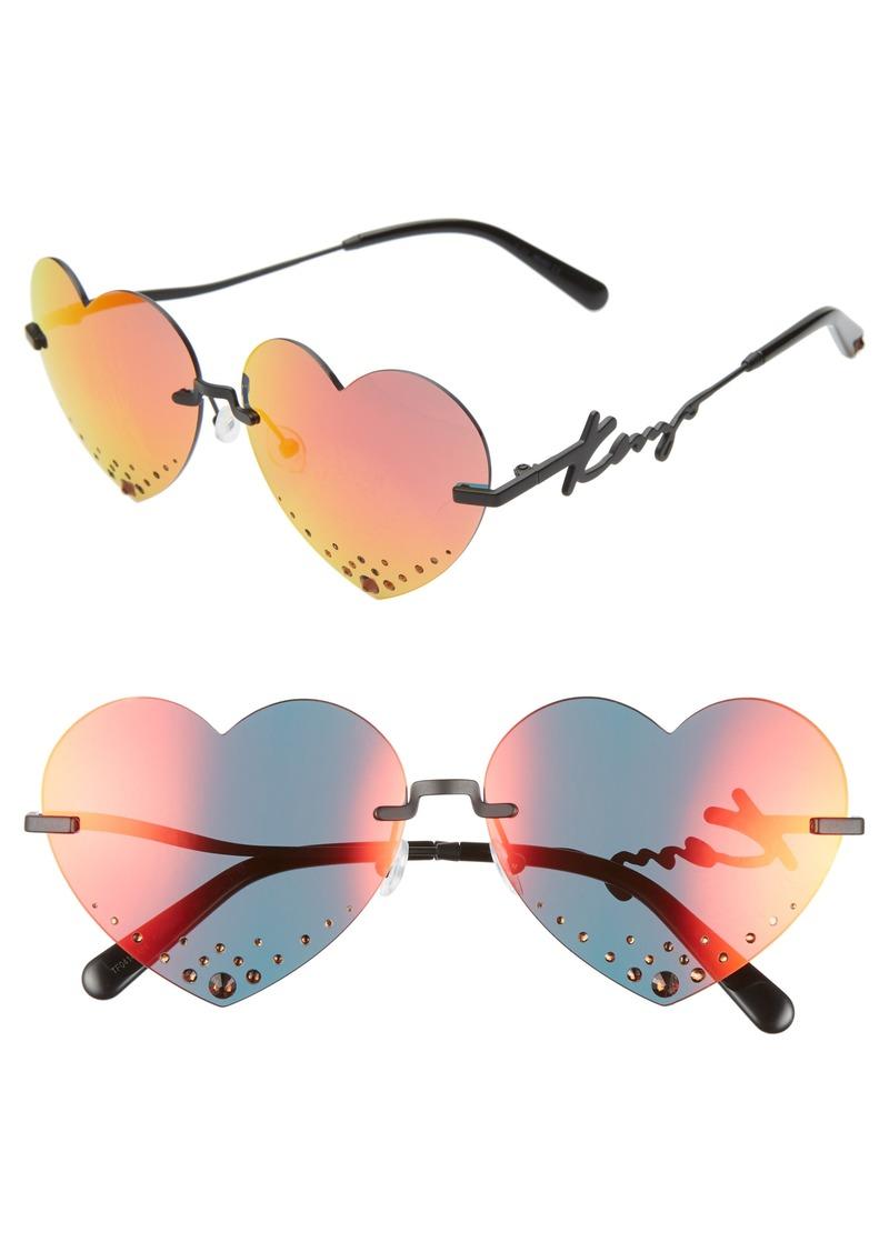 KENZO 63mm Oversize Rimless Heart Sunglasses