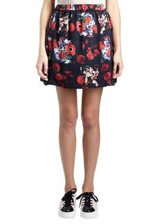 Kenzo Antonio Smocked Floral Silk Satin Skirt
