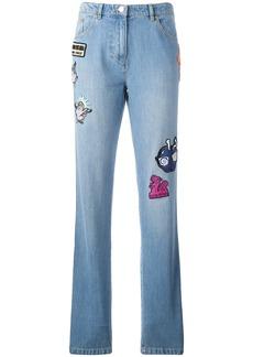 Kenzo badge appliquéd boyfriend jeans - Blue