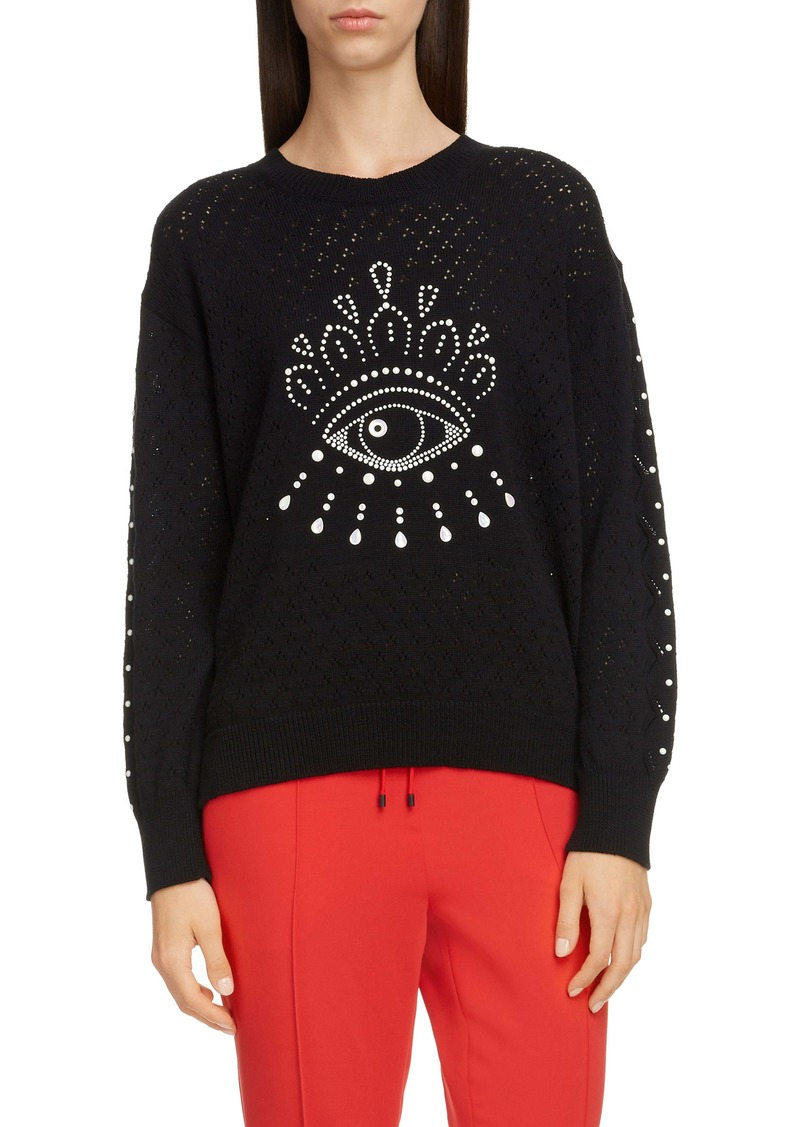 KENZO Beaded Eye Pointelle Cotton Sweater