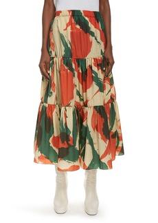 KENZO Brushed Camo Print Tiered Midi Skirt