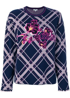 Kenzo checkered sweater with logo - Blue