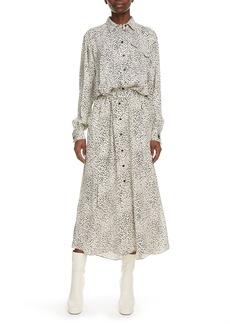 KENZO Cheetah Print Long Sleeve Midi Shirtdress