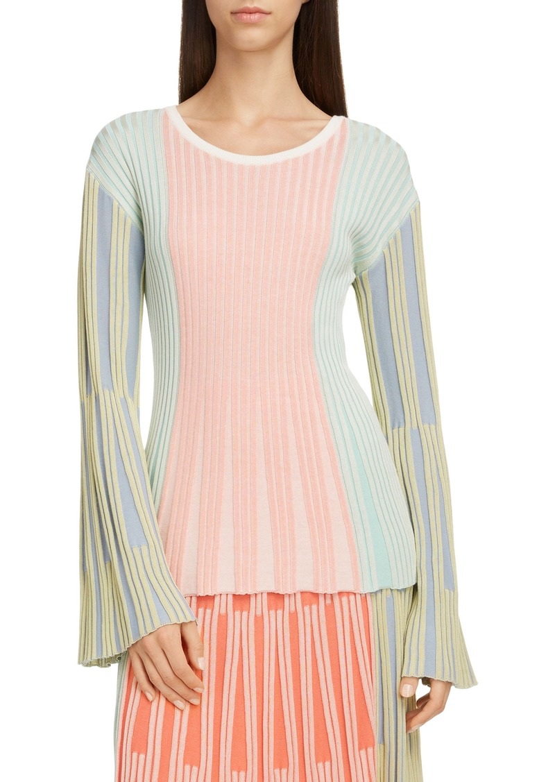 KENZO Colorblock Ribbed Bell Sleeve Sweater