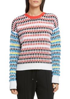 KENZO Contrast Sleeve Open Knit Sweater