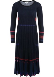 Kenzo Crew Neck Blue And Black Ribbed Dress With Lurex Inserts