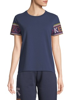Kenzo Crewneck Logo-Sleeves Cotton T-Shirt