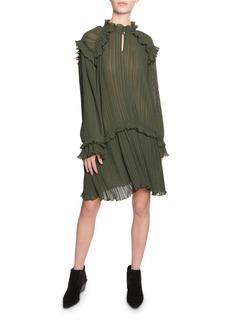 Kenzo Crinkle Drop-Waist Long-Sleeve Ruffle Dress