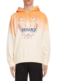 KENZO Dip Dye Tiger Embroidered Oversize Hooded Sweatshirt