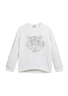 Kenzo Drop-Shoulder Sweatshirt w/ Metallic Tiger Face  White  Size 8-12
