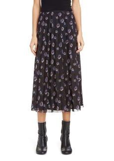 KENZO Floral Pleated Midi Skirt