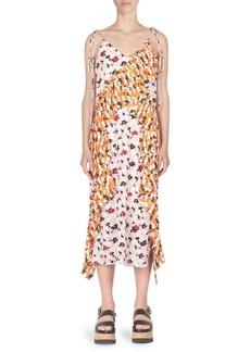 Kenzo Floral-Print Ruffle Midi Slip Dress